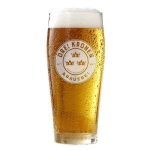 Bierglas / Willybecher - Brauerei Drei Kronen - gefüllt mit Bier