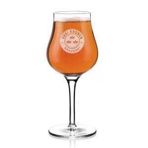 gefülltes Sommelierglas - Bierglas mit Aufdruck Brauerei Drei Kronen