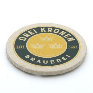 """Handgefertigter Naturstein Untersetzer """"Brauerei Drei Kronen"""""""